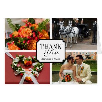 Notched 4 photo montage personal thank you greeting card