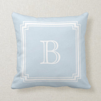 Notched Corner Frame BABY BLUE Background Monogram Cushion