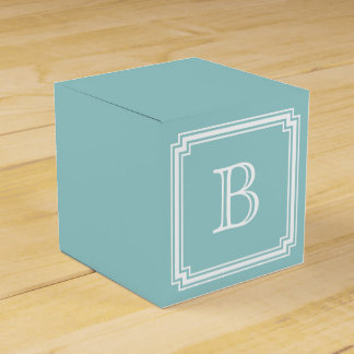 Notched Corner Frame Monogrammed Favor Box, Blue Favour Box