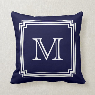 Notched Corner Frame Navy Blue Background Monogram Throw Pillow