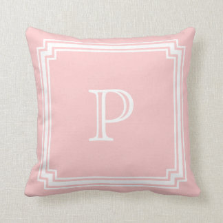 Notched Corner Frame Pink Background Monogram Cushion