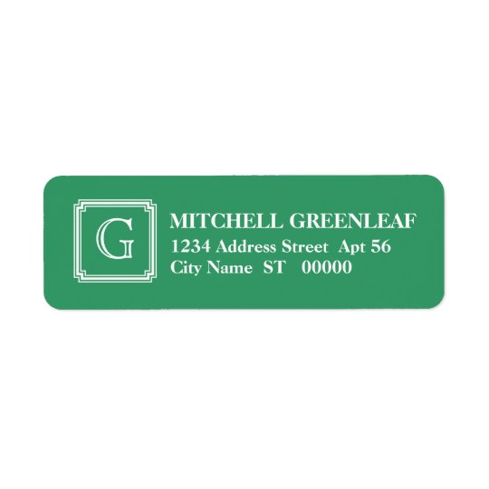 Notched Square Initial Return Address Label, Green Return Address Label