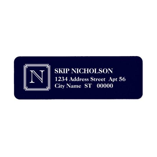 Notched Square Initial Return Address Label, Navy Return Address Label