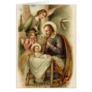 Note Card (Blank/Custom): St. Joseph Nativity