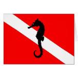 note card - seahorse dive flag
