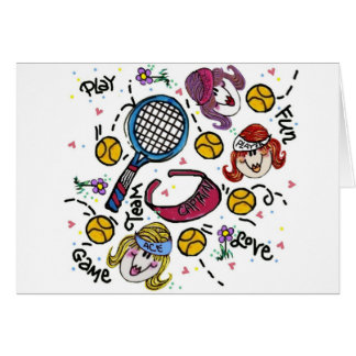Note Card -Tennis Girls