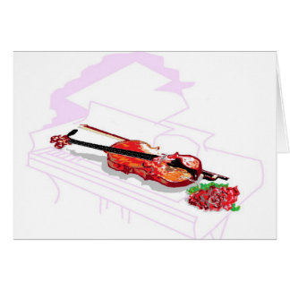 Note Card Violin Rose within Piano