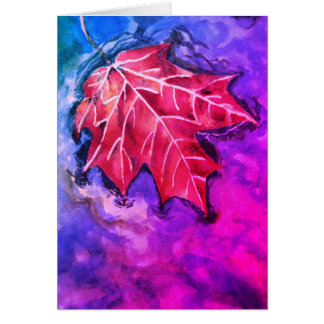 Note card watercolour leaf painting