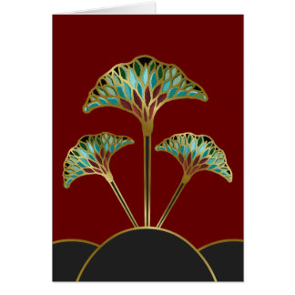 Note Card with Art Deco Ginkgo Leaves