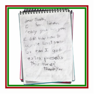 Note for Santa Standing Photo Sculpture
