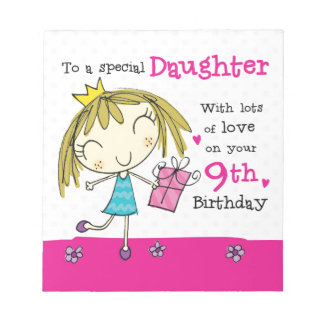 NOTE PAD Daughter 9th Birthday cute pink princess