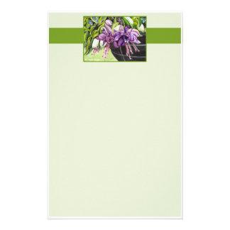 "Note Paper - Fuchsia ""Lisa"" basket of flowers #2 Customized Stationery"