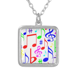 note rainbow silver plated necklace