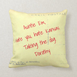 Note to Auntie Em on Old Postcard Print Pillow