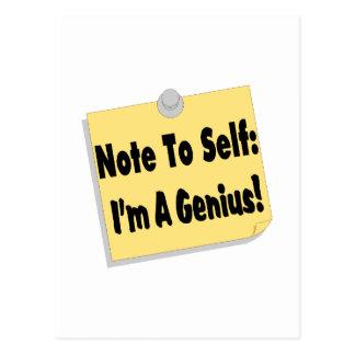 Note To Self Im A Genius Postcard
