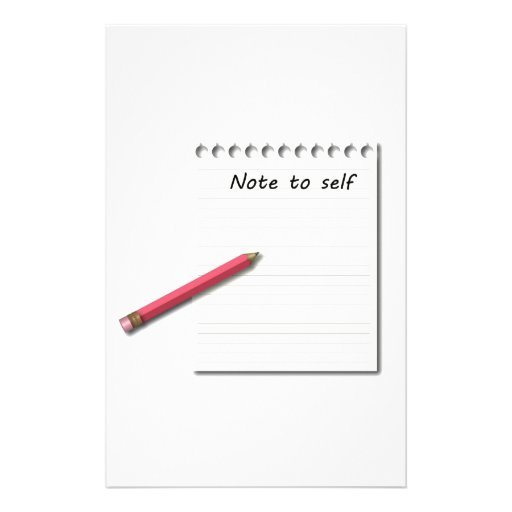 Note to Self paper and pencil Stationery