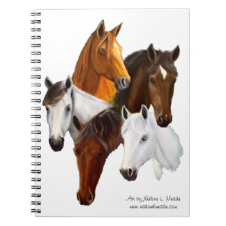 Notebook, Five horse heads, cutout background Notebooks