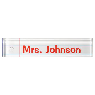 Notebook Paper Teacher Nameplate