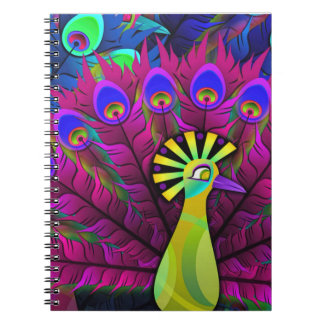 Notebook:  Peacock with color burst Notebook