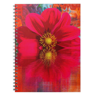 Notebook:  Red flower with color burst Notebooks