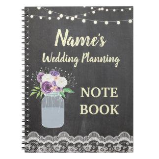 Notebook Rustic Chalk Jar Wedding Planning Bride