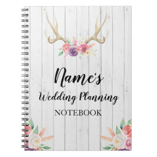 Notebook Rustic Wedding Planning Antler Bride
