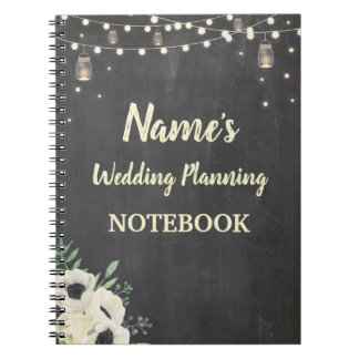 Notebook Rustic Wedding Planning Bride Fireflies