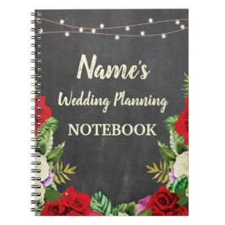 Notebook Rustic Wedding Planning Bride Red Roses