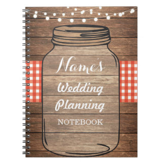 Notebook Rustic Wedding Planning Jar Red Gingham