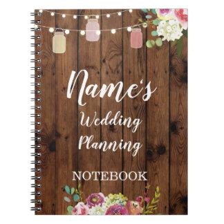 Notebook Rustic Wedding Planning Jars Notes Bride