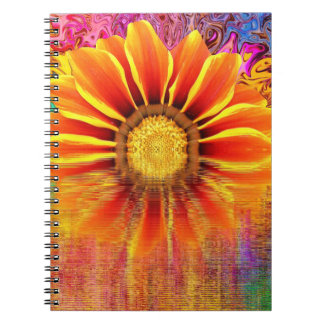 Notebook:  Sunflower with color burst Spiral Notebook