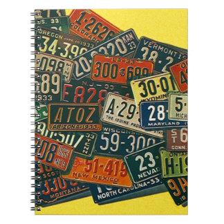 Notebook Vintage License Plate Travel Logbook Note