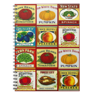 Notebook Vintage Retro Canned Fruit Veggie Labels