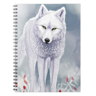 Notebook white wolf (80 pages with black lines)