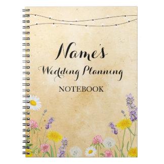 Notebook Wild Flowers Wedding Planning Ideas Notes