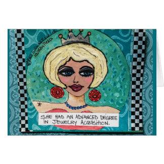 Notecard-she had an advanced degree card