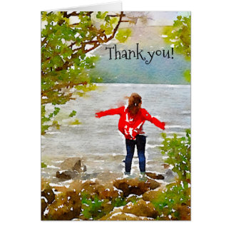 Notecards, young girl on lake, thank you cards