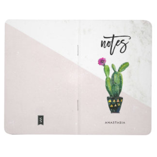 Notes | Blush Pink Marble and Cactus Journal