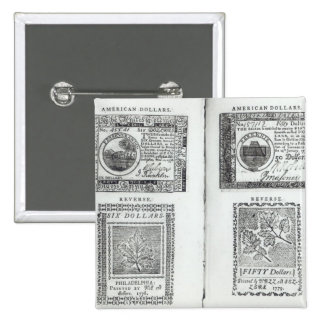 Notes of the Continental Currency 15 Cm Square Badge
