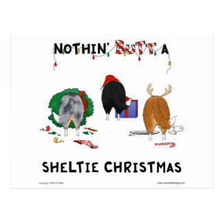 Nothin' Butt A Sheltie Christmas Postcard