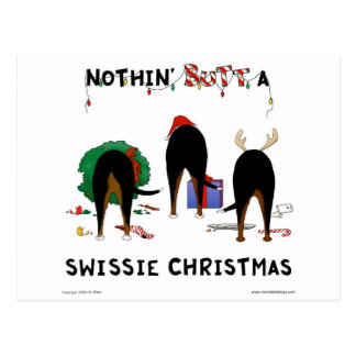 Nothin' Butt A Swissie Christmas Postcard