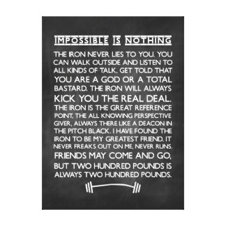 Nothing is impossible Gym Motivational Chalkboard Stretched Canvas Prints