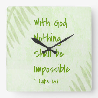 Nothing Shall Be Impossible Palm Square Wallclocks
