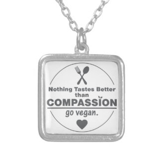 Nothing Tastes Better Than Compassion Go Vegan Square Pendant Necklace