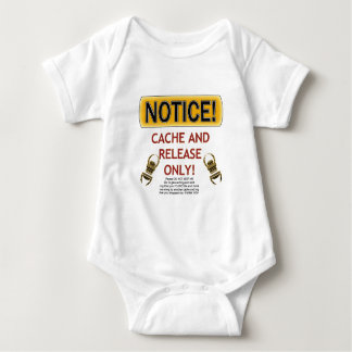 NOTICE CACHE AND RELEASE ONLY! GEOCACHING BABY BODYSUIT