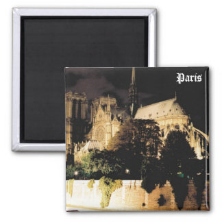 Notre Dame at night.  Paris, France. Square Magnet