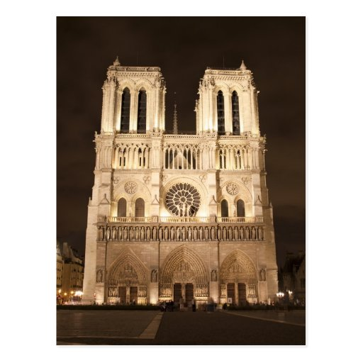 Notre Dame at night Postcard