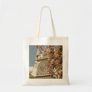 Notre Dame de Paris in Pink Spring Flowers Budget Tote Bag