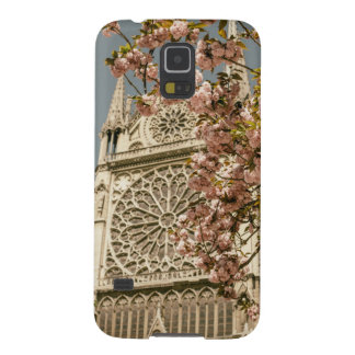 Notre Dame de Paris in Pink Spring Flowers Cases For Galaxy S5
