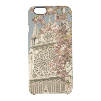 Notre Dame de Paris in Pink Spring Flowers Clear iPhone 6/6S Case